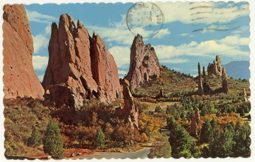 "Post Card Home of ""The Garden of the Gods"" Pikes Peak Region, CO"