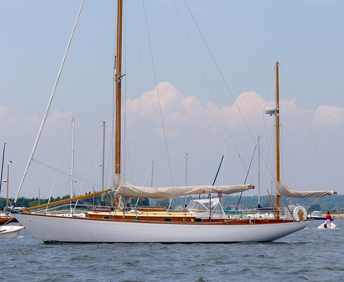 Photo of a yawl type sailboat.