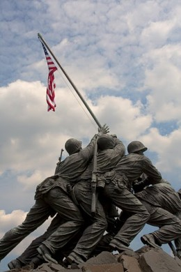 The statue of U.S. soldiers raising the American flag at Iwo Jima.
