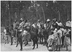 The Abyssinians led by their Emperor Haile Selassie prepare to face the Italian Army