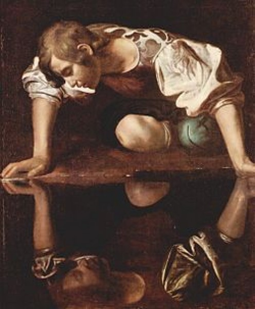 I love me...I could look at me for the rest of my life...and he did.  Mythology says that Narcissus couldn't bear to tear himself away from his own reflection, so he died of starvation.