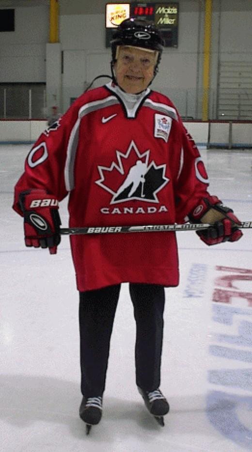 Hazel's love of hockey is well known.  A  l-o-n-g time ago she played professionally