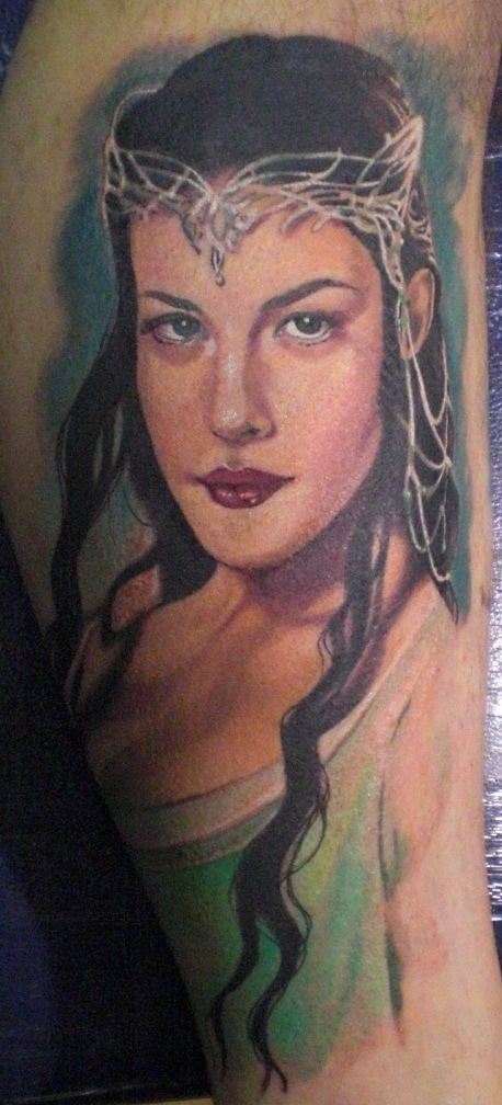 Arwen tattoo created by Hannah Aitchison from Deluxe Tattoos, Chicago, USA and star of LA ink
