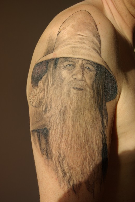 Gandalf Tattoo created by Chris Garver from Love Hate Tattoos, Miami, USA and star of Miami Ink