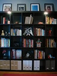 A nicely sorted bookshelf such as this can do wonders.