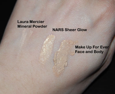 "Laura Mercier Mineral Makeup SPF 15 in ""Real Sand"", NARS Sheer Glow in ""Deauville"", and Make Up For Ever Face and Body foundation in ""Ivory 20"""