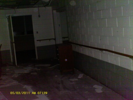 At the top of this photo you can see an orb that we watched in this hallway for several minutes. It danced and floated around us like it was playing with us.