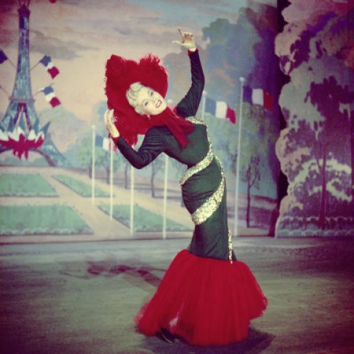 "Scene from ""Moulin Rouge"". Zsa Zsa as Jane Avril."