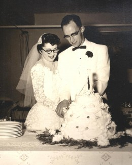 Mom and Dad on their wedding day in September,1954. Other than those awful black glasses, I think she made a beautiful bride.