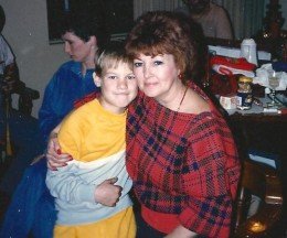 Mom with my son Troy when he was about 8 years old. How my sons miss her.