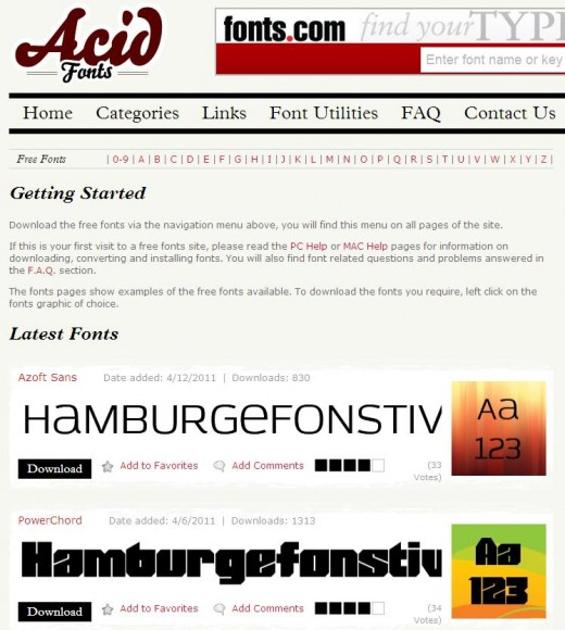 AcidFonts website image shown
