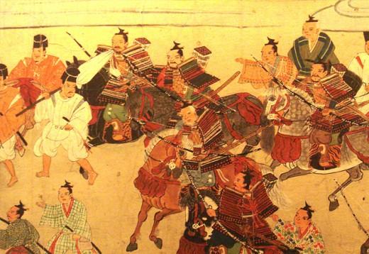 Muromachi period, fighting warriors.