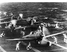 Japanese naval aircraft prepare to take off  to attack Pearl Harbor during the morning of 7 December 1941.