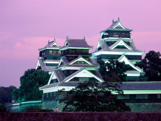 Kumamoto Castle, one of three famous samurai castles in Japan.