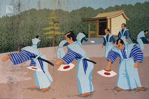 Samurai practising with Gunpai.