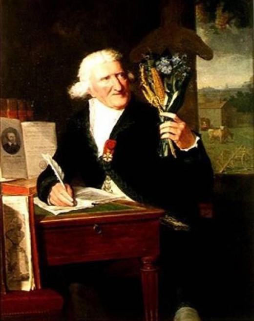 Dumont Portrait of Antoine Parmentier examining New World Plants