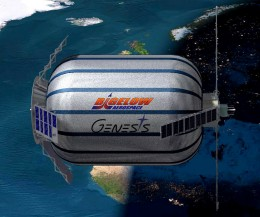 An artist's conception shows a side view of the Genesis series of pathfinder modules being launched by Bigelow Aerospace.