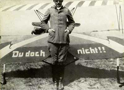 "Ernst Udet with his ""Du doch nicht"" airplane"