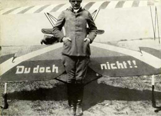 """Ernst Udet with his """"Du doch nicht"""" airplane"""