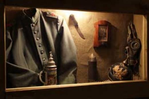 Display of German uniform items