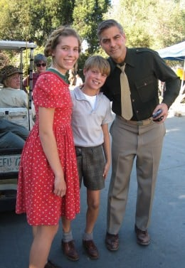 "Child actors working with George Clooney on the set of, ""The Good German."""