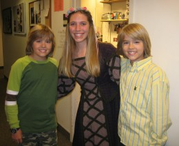 "Child actor working with Dylan and Cole Sprouse on the set of, ""The Suite Life of Zach and Cody."""