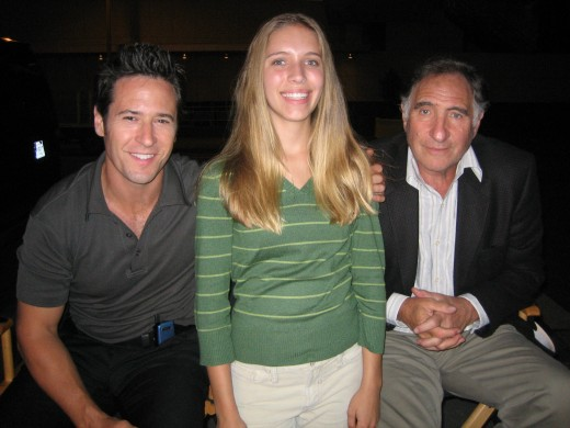 "Child actor working with Rob Morrow and Judd Hirsch on the set of, ""Numb3rs."""