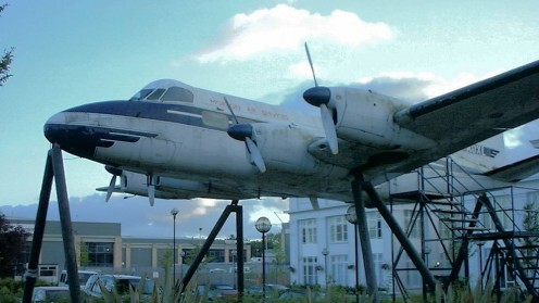 A De Havilland Heron, displayed outside Airport House, the former terminal building of Croydon Airport