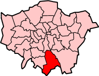 Map location of Croydon Borough, London