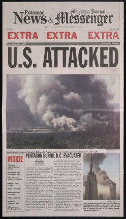 September 11, 2001 Front Page Headlines From the Potomac Manassas Journal News and Messenger.