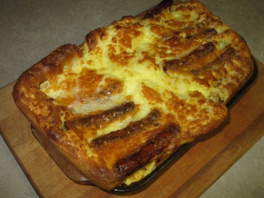 Hearty Toad-in-the-hole made with free range eggs.