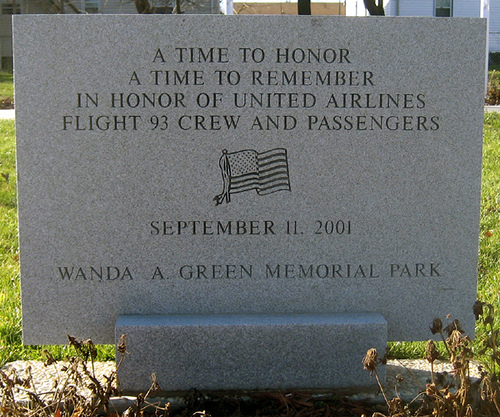 The Memorial Stone that Stands in the Field Where the 40 Passengers and Crew of Flight 93 Died