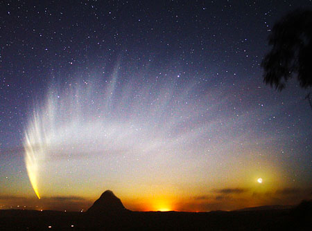 Comet-McNaught presented this spectacular image of its tail when it passed between Earth and the sin. We may see an even better display in the fall.