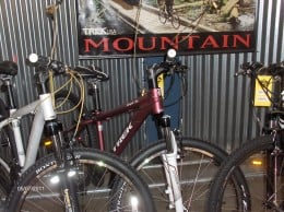 Hybrid bicycles have narrow tires, but more of the mountain bike look.