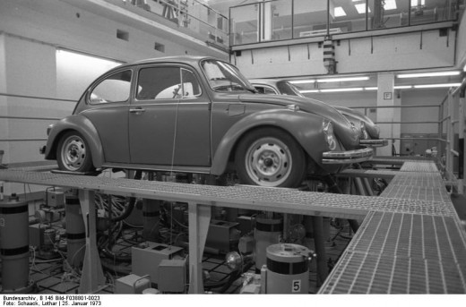 Assembly line for Type 1 Volkswagen.