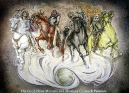 This is an illustration created from the pages of Revelation in the Bible concerning the four horsemen of the apocalypse. The word apocalypse is translated revealing.