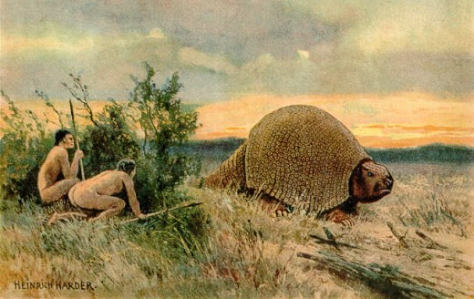 Paleo-Indians Hunting Glyptodontidae, painted by Heinrich Harder