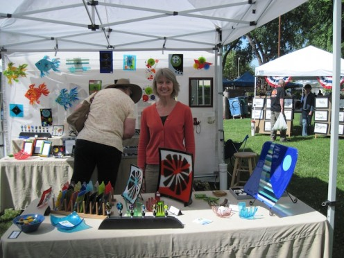 Sheri Klein at Day in the Shade with her glass art. Click picture for a closer look and see more at Sheri's website.