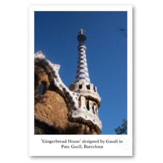 Original photograph of the 'gingerbread house' in Parc Guell, Barcelona, designed by Antoni Gaudi