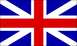 The Union Flag with the red cross of St. George (England) with the blue and white cross of St. Andrew (Scotland)