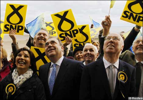 SNP leader Alex Salmond surrounded by supporters
