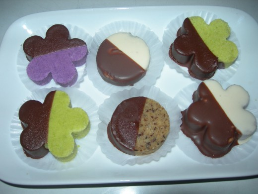 dipped and double coated assorted homemade polvorons in dark and white chocolate.