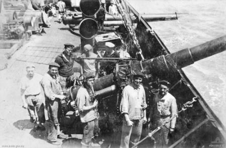 15cm (5.9 inch) gun on the deck of the German armed merchant raider SMS Wolf