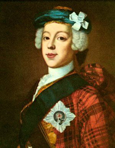 """Bonnie Prince Charlie in a 1739-1745 period painting, in a clan tartan jacket, blue """"bonnet"""", star and ribbon of the garter, and white cockade on his hat."""