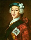 "Bonnie Prince Charlie in a 1739-1745 period painting, in a clan tartan jacket, blue ""bonnet"", star and ribbon of the garter, and white cockade on his hat."