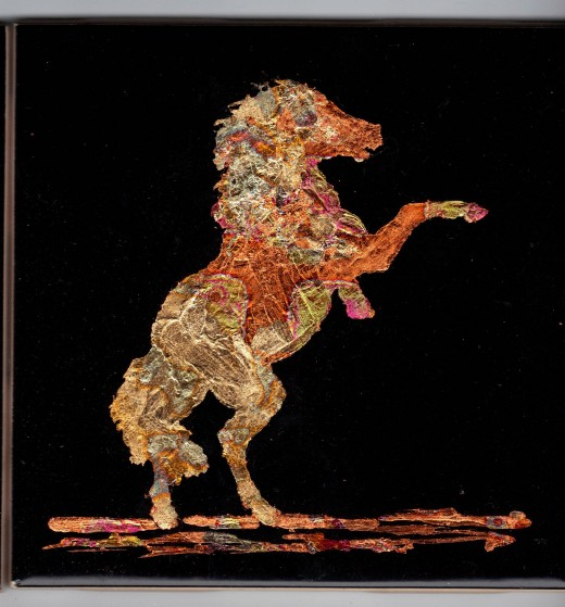 """Gilded horse (4.25"""" x 4.25"""")"""