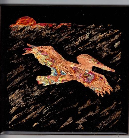 """Gilded pelican scene (4.25"""" x 4.25"""")"""