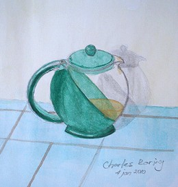 Watercolor sketch of teapot by Charles Roring