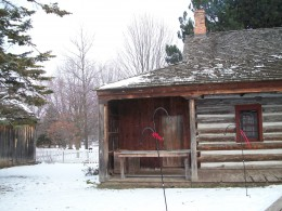 End view of the McCowan Log House, Scarborough