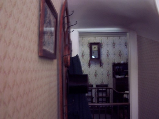 Lincoln's entryway, complete with stovetop hat.